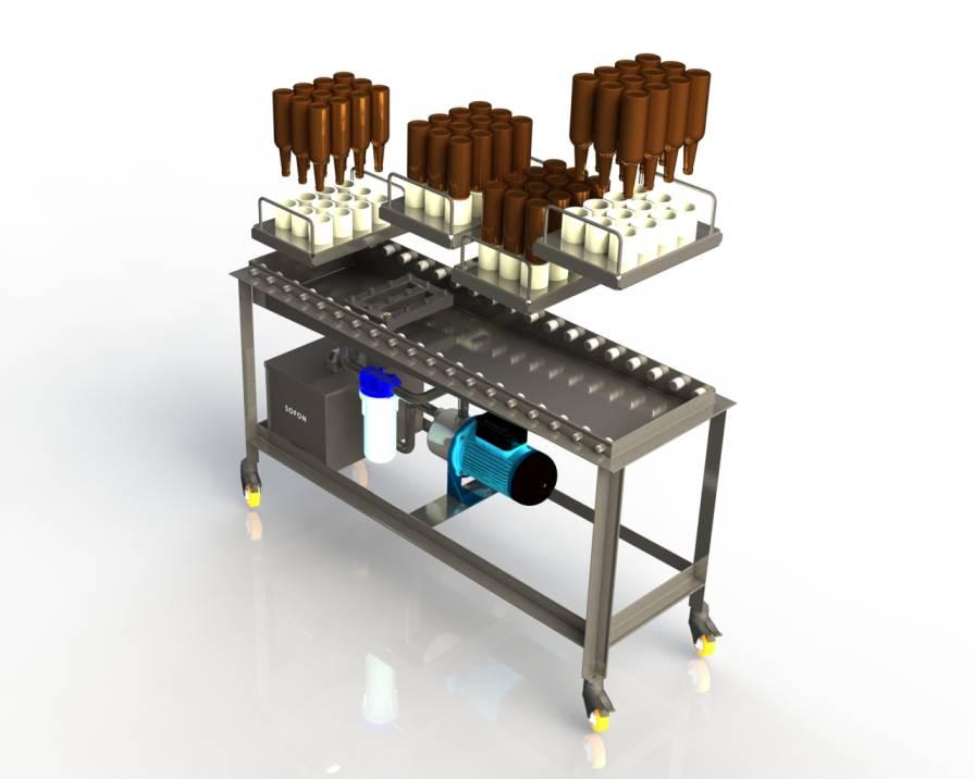 Ручной ополаскиватель для стеклянных бутылок. Оборудование линии розлива